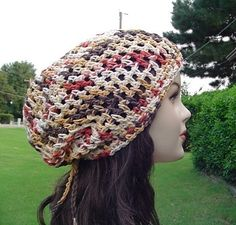Cotton summer slouchy  beanie harvest colors by PurpleSageDesignz