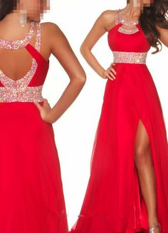 2013 Long Red Chiffon Evening Ball Cocktail Prom Bridesmaid Dresses Wedding Gown