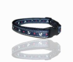 Nautical Anchor Sailor Small Dog Puppy Collar by zukiestyle, £5.00