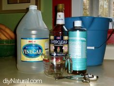 Homemade glass cleaner  1 cup high proof clear grain alcohol (Everclear, vodka, etc.)  1/4 cup distilled white vinegar  1/2 teaspoon liquid soap (UPDATE: Liquid dish soap works best for this recipe. Do not use castile soap, as pictured.)  water