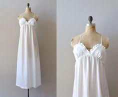 white nightgown / 1970s ruffled nightdress / Lily of by DearGolden, $48.00