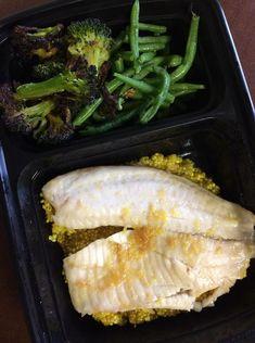 Lemon Tilapia over Yellow Quinoa with Roasted Broccoli  -- Evensen Personal Menus