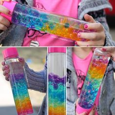 """A rainbow sensory bottle that is beautiful to look at and fun to enjoy. This bottle was inspired by the separation that occurs when you mix water and oil. I found myself wondering, """"well, wha…"""