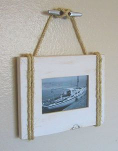 Shabby Chic Nautical Beach cottage Rope Boat cleat Picture Frame in Distressed Whisper White. An easy DIY project. Nautical Bedroom, Nautical Bathrooms, Chic Bathrooms, Nautical Theme, Nautical Rope, Nautical Kitchen, Nautical Office, Nautical Style, Bathroom Vanities