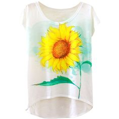 Womens Short Sleeve Crew Neck Sunflower Printed High Low T-shirt White (25 RON) ❤ liked on Polyvore featuring tops, t-shirts, white, white short sleeve top, crew neck t shirt, short sleeve crew neck t shirt, white crew neck tee and short sleeve tops