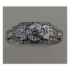 Platinum Art Deco Old European Cut Engagement Ring Circa 1930's