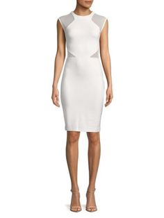 874fc8d72c8 $149 French Connection White Viven Mesh Panelled Bodycon Dress 0 NWT F491