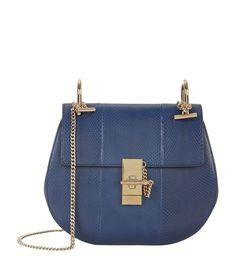 Chloé Small Drew Python Shoulder Bag Dark Blue   Harrods