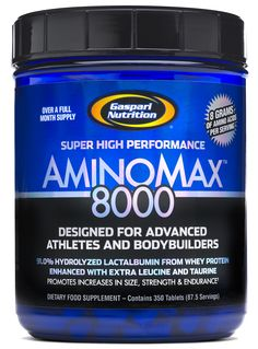 Gaspari Nutrition's AMINOMAX 8000 is a scientifically designed blend of 91% hydrolyzed lactalbumin from whey protein, containing very low molecular weight proteins, di- and tri- peptides and individual amino acids infused with additional L-Leucine and L-Taurine, suggested to be exceedingly beneficial to all types of athletes and bodybuilders.