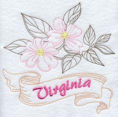 Virginia - Dogwood (Redwork)