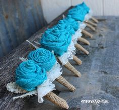 Customized Burlap Rose Boutonnieres for Vintage by GypsyFarmGirl, $10.00