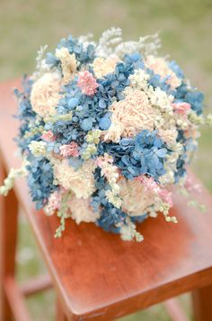 Pastel blue and cream bridal bouquet blue by TheBlaithinBlairShop