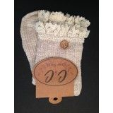 CC Crochet LaceTrimmed Knit Ankle Socks with Button Beige