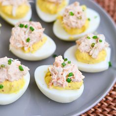 Delicious deviled eggs with spicy crab topping, for Hellman's Anniversary. Finger Food Appetizers, Finger Foods, Appetizer Recipes, Dinner Recipes, Buffet, Deviled Eggs Recipe, Egg Recipes, Potato Recipes, Vegetable Recipes