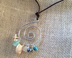 Wire wrap Sea Glass and Shells Beach by MermaidsDesignStudio, $22.00 #seaglassdiy