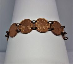 Copper Bracelet made from Singapore One Cent Coins Coin