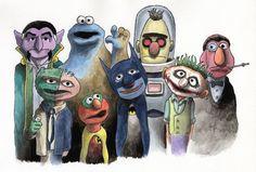 Awesome Sesame Street / Batman mashup by Matthew Benkner Illustration!