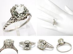 Antique Old European Cut Diamond Engagement Ring Solid Platinum Crown Setting - EraGem    I love everything about this ring! the design on that skinny little band, the cut of the stone gorgeous :)