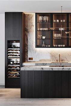 Storing wine so it remains fresh is of the upmost importance. Wine bottles should be stored at the correct temperature and on their sides.  Kitchen by: Kitchens by Paul  #Gaggenau #GaggenauExperience #GaggenauAppliances #WineStorage #Luxury #HomeInspiration #KitchenInspiration #Sommelier #WineCooler