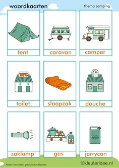 Word cards for toddlers, theme camping, kleuteridee.nl, preschool camping the . Camping Theme, Go Camping, Summer School, Pre School, Learn Dutch, Dutch Language, Camping Coffee, Dramatic Play, Primary School