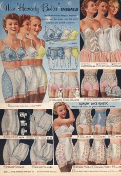 Sears catalog (circa 1950s) Vintage girdles and suspender belts