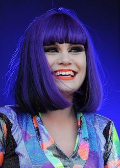 Jessie J - royal purple bob with blunt bangs - great hair