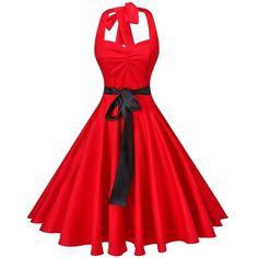 V fashion Women's Vintage 1950s Halter Neck Polka Dot Audrey Hepburn... ($8.39) ❤ liked on Polyvore featuring dresses, red dress, red polka dot dresses, vintage evening dresses, vintage cocktail dresses and red halter top