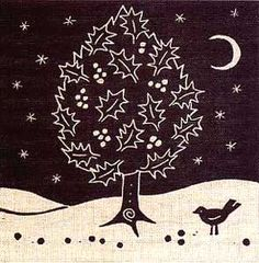 Woodblock/ lino print monochrome Christmas