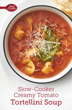 Slow-Cooker Creamy Tomato and Tortellini Soup Slow Cooker Soup, Slow Cooker Recipes, Cooking Recipes, Healthy Recipes, Soup Recipes, Tomato Tortellini Soup, Tomato Soup, Cooking For Beginners, Homemade Pesto