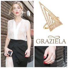 The fabulous Amber Heard was seen in our Everest Ring while she was out and about in London. #ring #fashion #jewelry #grazielagems #designer #diamondring #amberheard