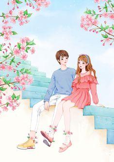 往事已成风_绘心小猪__插画师作品_涂鸦王国gracg.com Cute Couple Drawings, Cute Couple Art, Anime Couples Drawings, Cute Drawings, Love Cartoon Couple, Cute Love Cartoons, Anime Love Couple, Cute Love Wallpapers, Cute Cartoon Wallpapers
