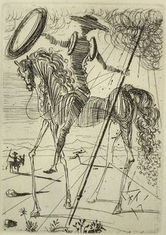 Don Quixote, etching by Salvadore Dali