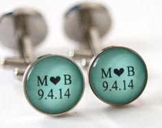Mint Green Wedding Gift Grooms Gift, Mint green wedding favors Groomsmen Gift, Personalized Wedding Cufflinks Custom Color STAINLESS STEEL