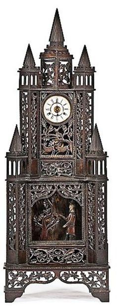 Novelty Clock; Dwarf Case, Folk Art, Spires & Animals, Moving Figure Chopping a Tree, 60 inch.
