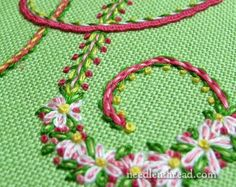 Floral Monograms via the fabulous Mary Corbetat http://www.needlenthread.com/