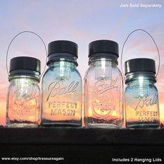 Sooooooo many cute mason jar ideas!   The Original Handmade Mason Jar Solar Lights Design, Flower Frog Lids, Ball Jar Hanging Lanterns & Lights, Mason Jar Chandeliers, Mason Jar Flower Vases, Canning Jars, Fruit Jars, with Recycled Garden Treasures.