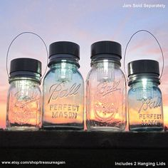 Sooooooo many cute mason jar ideas!   The Original Handmade Mason Jar Solar Lights Design, Flower Frog Lids, Ball Jar Hanging Lanterns & Lights, Mason Jar Chandeliers, Mason Jar Flower Vases, Canning Jars, Fruit Jars, with Recycled Garden Treasures.