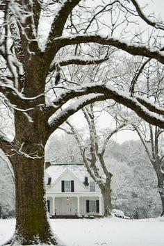 house set in the snow pinned by www.cedarhillfarmhouse.com