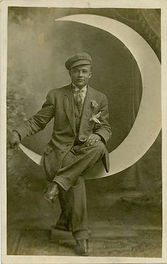 Dapper Young Man on a Paper Moon - Real Photo Postcard. Looks a bit like Leo DiCaprio, right? Antique Show, Antique Photos, Vintage Photographs, Vintage Photos, Moon Images, Moon Photos, Moon Pictures, Vintage Moon, Moon Dance