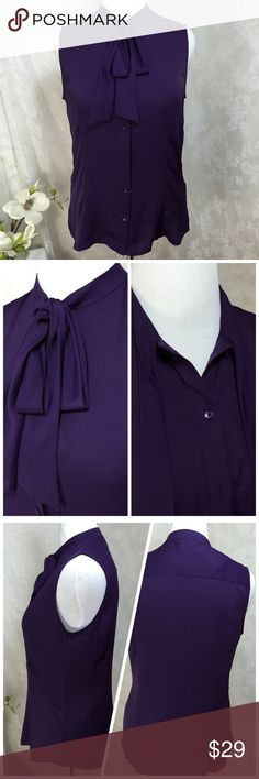 Host Pick 8/27! Button Down Tie Neck Blouse. B019 Anne Klein Purple Button Down Tie Neck Blouse. 100% polyester. Sleeveless. Size 14 Anne Klein Tops Blouses
