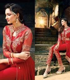 Buy Red embroidered georgette semi stitched salwar with dupatta party-wear-salwar-kameez online