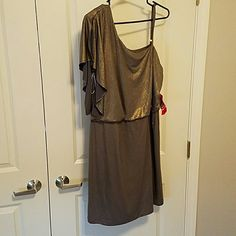 Plus size dress NWT silver sparkly one shoulder dress size 2X. Perfect for night out. Bought and was too big. Dresses Midi
