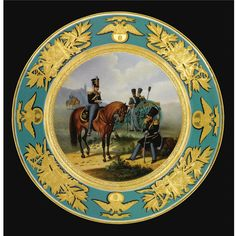 nA porcelain plate from a military service, Imperial Porcelain Manufactory, period of Nicholas I, (1825-1855)