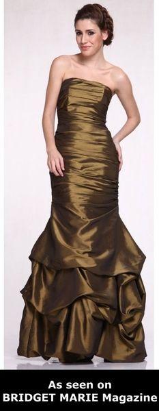 Mermaid Prom Dress Army Green Taffeta Ruched Pick Up Skirt Full Length Strapless $117.99