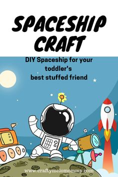 Create a cardboard rocket with your kids for their stuffed animals.  Also included are free printable coloring pages.