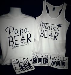 Family Bear shirts mama Tank top,papa,baby cub,wild cub bear shirts.family photos,sold in set or individual white and Black by luvolthings on Etsy