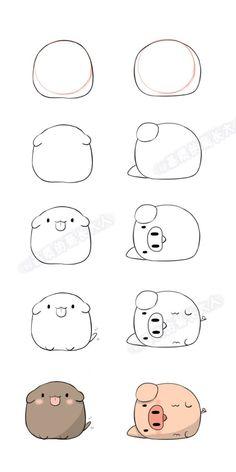 Xu (xu) Dog Hai (hai) from pig …. Ju @ matrix grown man Xu (xu) Dog Hai (hai) from pig …. Cute Cartoon Drawings, Cute Easy Drawings, Kawaii Drawings, Doodle Drawings, Doodle Art, Cartoon Styles, Easy Animal Drawings, Kawaii Doodles, Cute Doodles