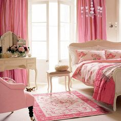 dramatic pink curtains