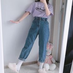 purple print top t shirt blue grey mom jeans jeans korean k fashion ulzzang 얼짱 comfy casual outfits clothes spring summer autumn winter school street everyday aesthetic soft minimalistic kawaii cute g e o r g i a n a : c l o t h e s Indie Outfits, Teen Fashion Outfits, Cute Casual Outfits, Retro Outfits, Vintage Style Outfits, Korean Casual Outfits, Artsy Outfits, Soft Grunge Outfits, 90s Fashion