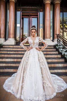 crystal design 2017 bridal long sleeves deep plunging v neck full embellishment bodice princess sexy ball gown a  line wedding dress keyhole back monarch train (chantale) mv